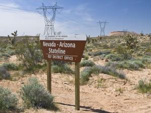 Nevada-Arizona Stateline Sign